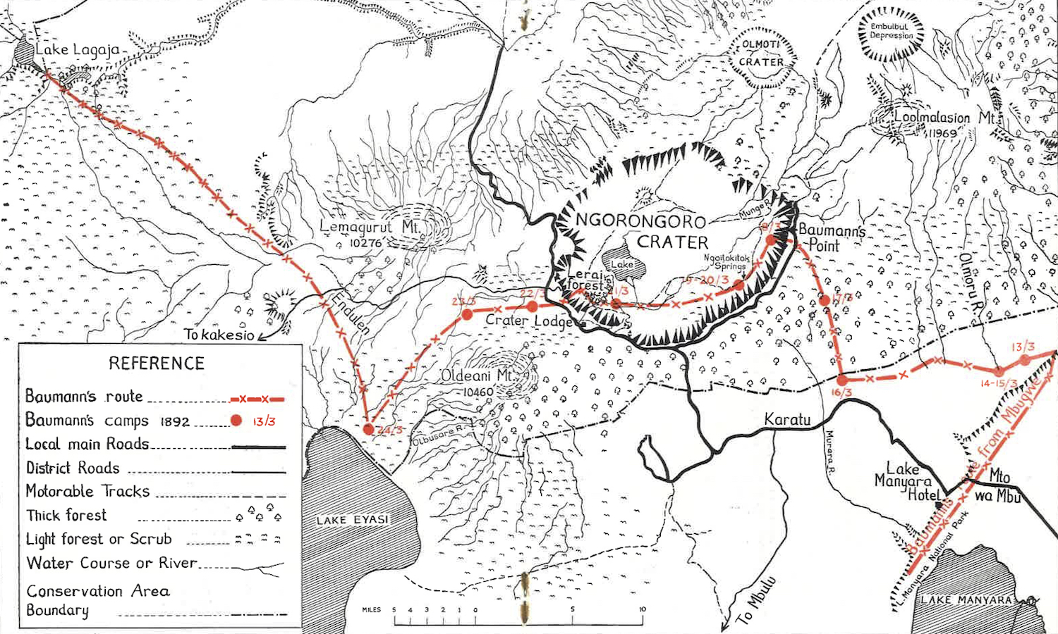 This map shows the route of Oskar Baumann through Ngorongoro Crater. His historic journey was taken 126 years ago this month and is marked in red. The graphic is drawn from a reprint (and translation) of Baumann's journey published as Ngorongoro's First Visitor (1963:10-11).