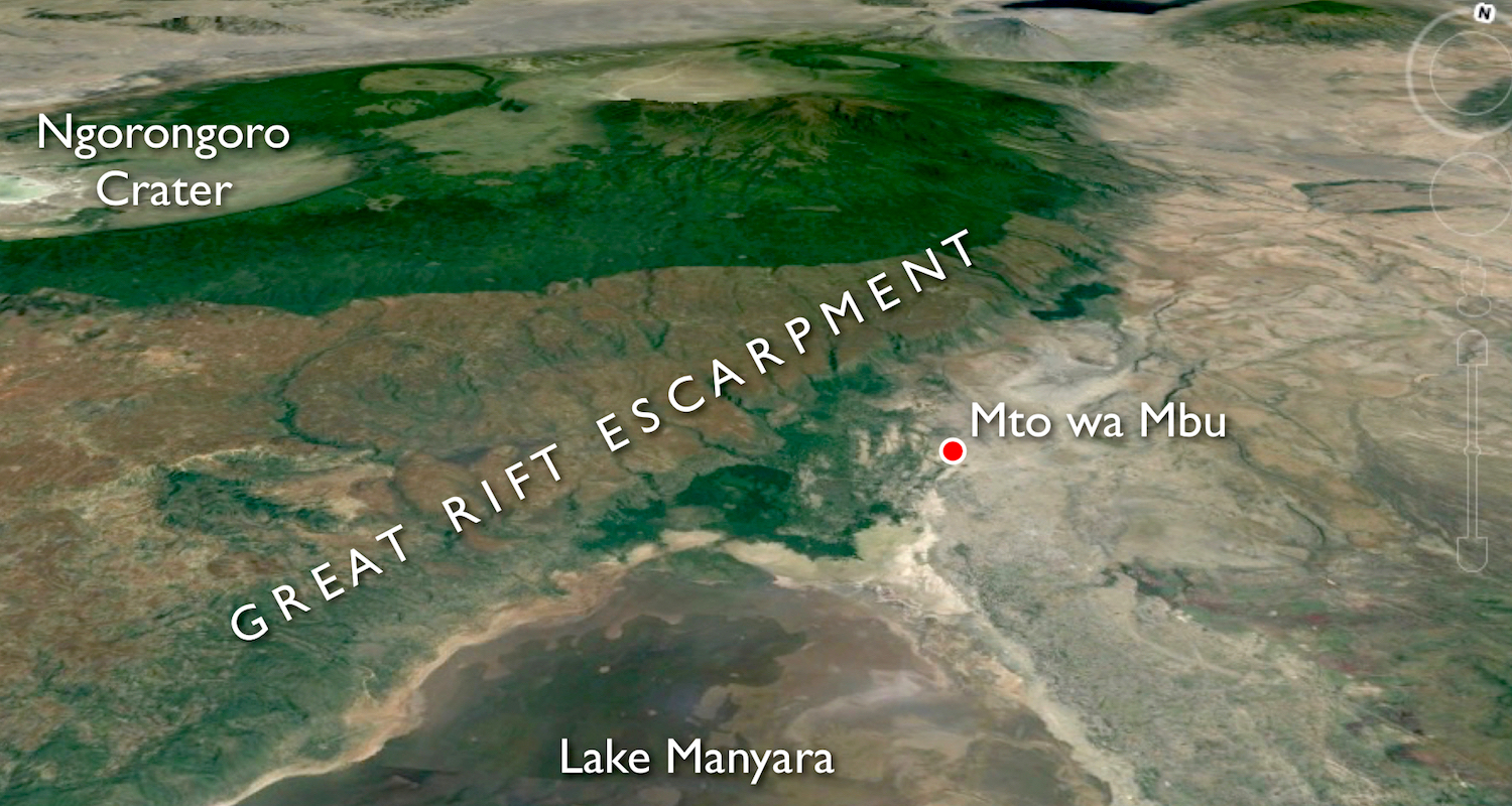 Image of Northern Tanzania adapted from Google Earth.