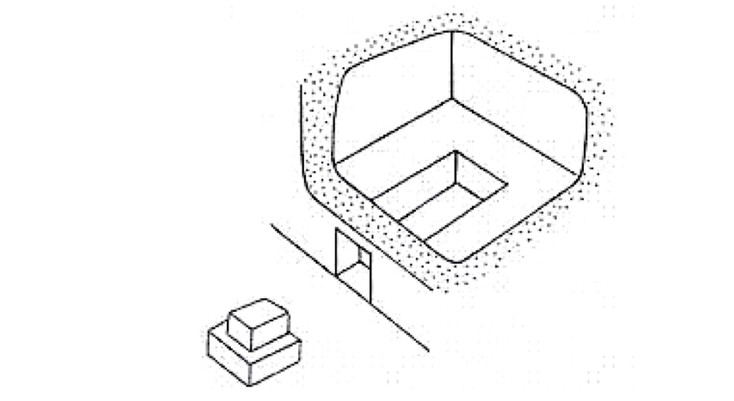 Reconstruction of a first century tomb. Note the cuboid plug or stopper (golal) that would be used to close the door. Image from  here.