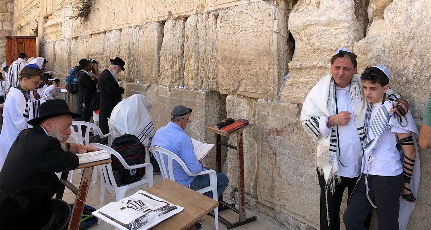 The Western Wall (or Kotel) in Jerusalem is a Jewish place of prayer, bar-mitzvah, celebration, and study. Photograph by Bible Land Explorer Brad Campbell.
