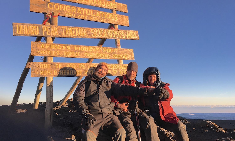 Jason, Mark, and Tommy on the summit of Mt Kilimanjaro.