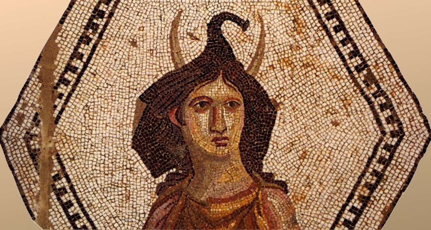 """Africa personified. Note how her hat/hair takes the shape of an elephant, complete with tusks. From the """"African House"""" preserved at El-Djem, Tunisia. While I photographed this Roman mosaic back in 2002, this particular image comes from Blanchard-Lemee, Michele,et. al. Mosaics of Roman Africa . George Braziller, 1996."""