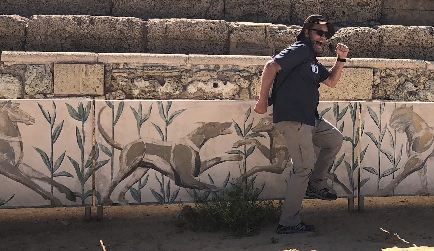The woulda-coulda-shoulda truck was rolling. Picture from the hippodrome at Caesarea-by-the-Sea.