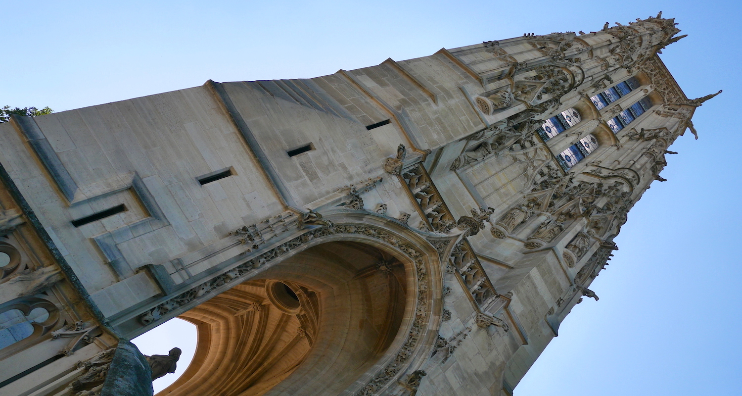 The tower is impressive. A statue of Blaise Pascal stands at the base. He reminds us that gravity is a splendid thing.
