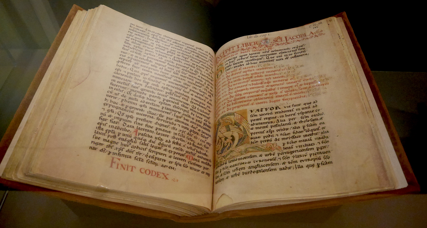 A facsimile of the Codex Calixtinus on display at Santiago's Museum of Pilgrimage.