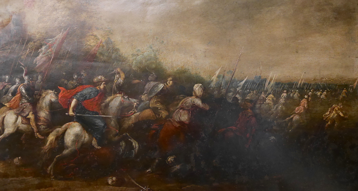 Saint James makes a surprise appearance at the Battle of Clavijo, 800 years after his death. Detail from painting on copper by Pedro Ruiz Zenzano (end of the 16th century). From display in the Santiago Museum of Pilgrimage.