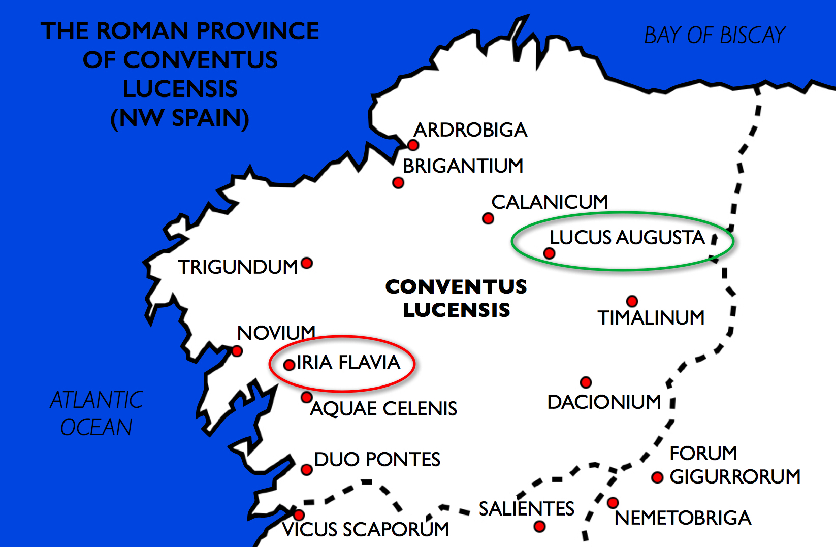The Roman administrative district of Conventus Lucensis occupies the northwest corner of the Iberian peninsula. Lucus Augusta was the primary administrative center. Iria Flavia was an inland port resting at the confluence of navigable rivers.