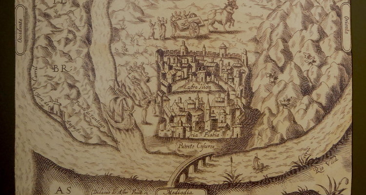 They buried James (or perhaps some of his relics?) near Iria Flavia,but as often happens, the spot was lost to memory and time. This copy of a print from 1610 shows the position of the community at the confluence of rivers. It also shows the body of James being transported by boat and cart. Display from the Museum of Pilgrimage in Santiago de Compostela.