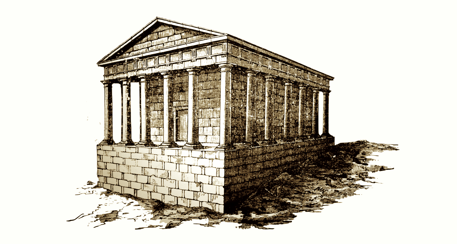 A reconstruction of what Palayo found? The area may have been a burial ground in the Roman period (other remains and funerary inscription have been recovered in the vicinity). The reconstructed building suggested here is quite elaborate and suggests the form of a first or second century peristyle (meaning columns all around) mausoleum. Might it have been purposively buried for the sake of preservation in a period of Christian persecution?This drawing is from a display in the Museum of Pilgrimage, Santiago, Spain.