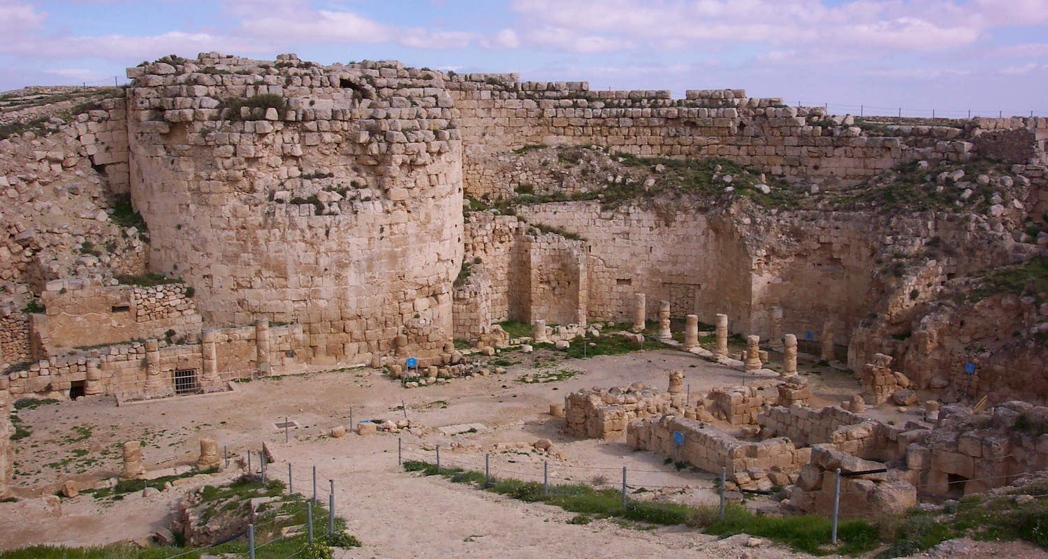 "The Herodyon is a great place to read a little Josephus, imagine a little geography, and think a little Christmasy. This view to the interior of the palace shows the remains of a colonnaded courtyard and the stub of the enormous east tower or ""keep."""