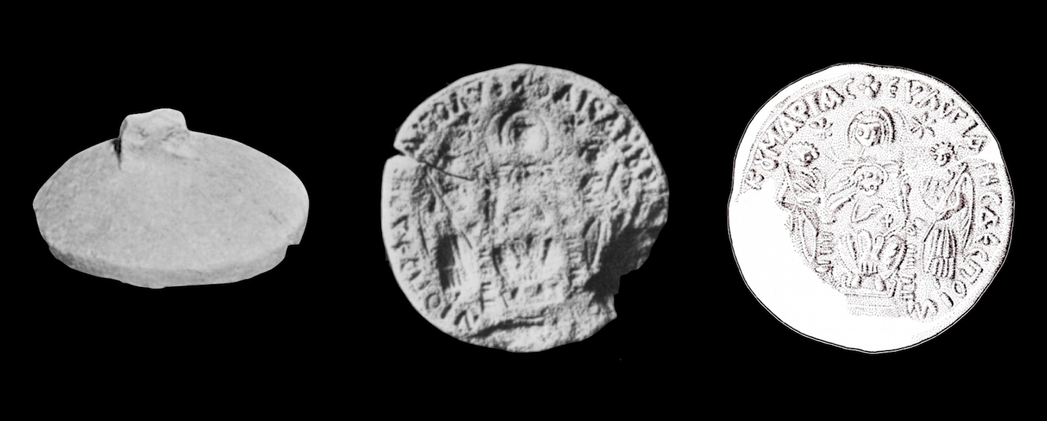 "While the small artifact pictured here does not present the magoi, it demonstrates an extremely rare find. This is a token stamp discovered at Khirbet Deir Dusawi. It is connected with the Church of St Sergius in Gaza.Visible on the left is the back of the stamp. The nub functions a handle. Visible in the center is the negative image and visible on the right is an artist's presentation of the positive. For discussion, see L. Y. Rahmani, ""A Eulogia Stamp from the Gaza Region"" in Israel Exploration Journal 20 1/2 (1970): 105-108."
