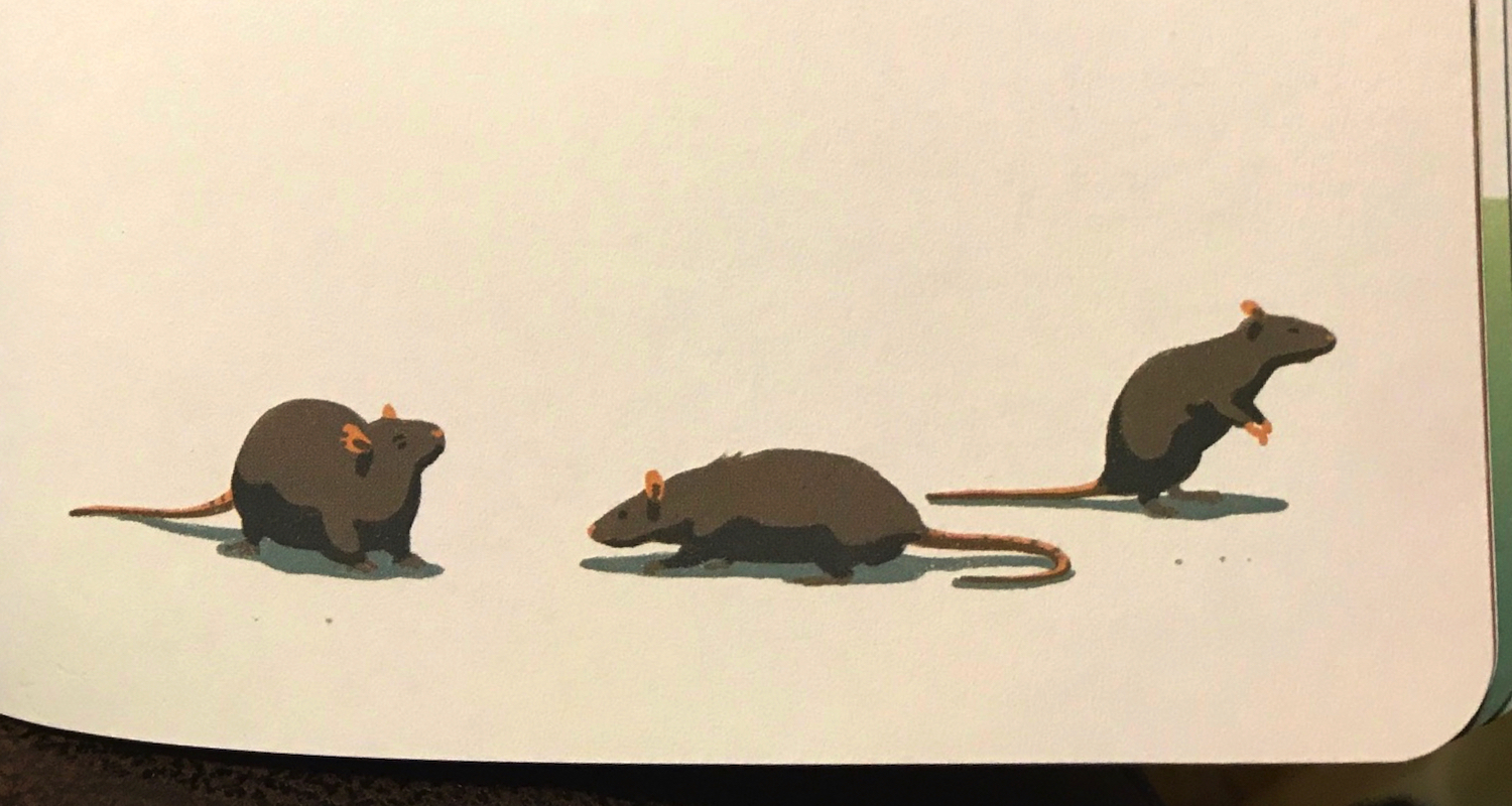 All illustrations in the book come from the hand of Jeff Östberg. Even in the case of rats (p. 103), his art is mellow and creamy and delightful.