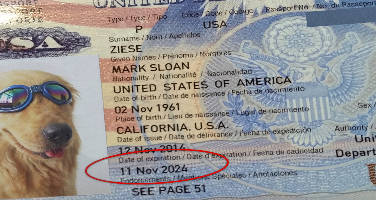 Note the date of expiration on the picture page of your passport.