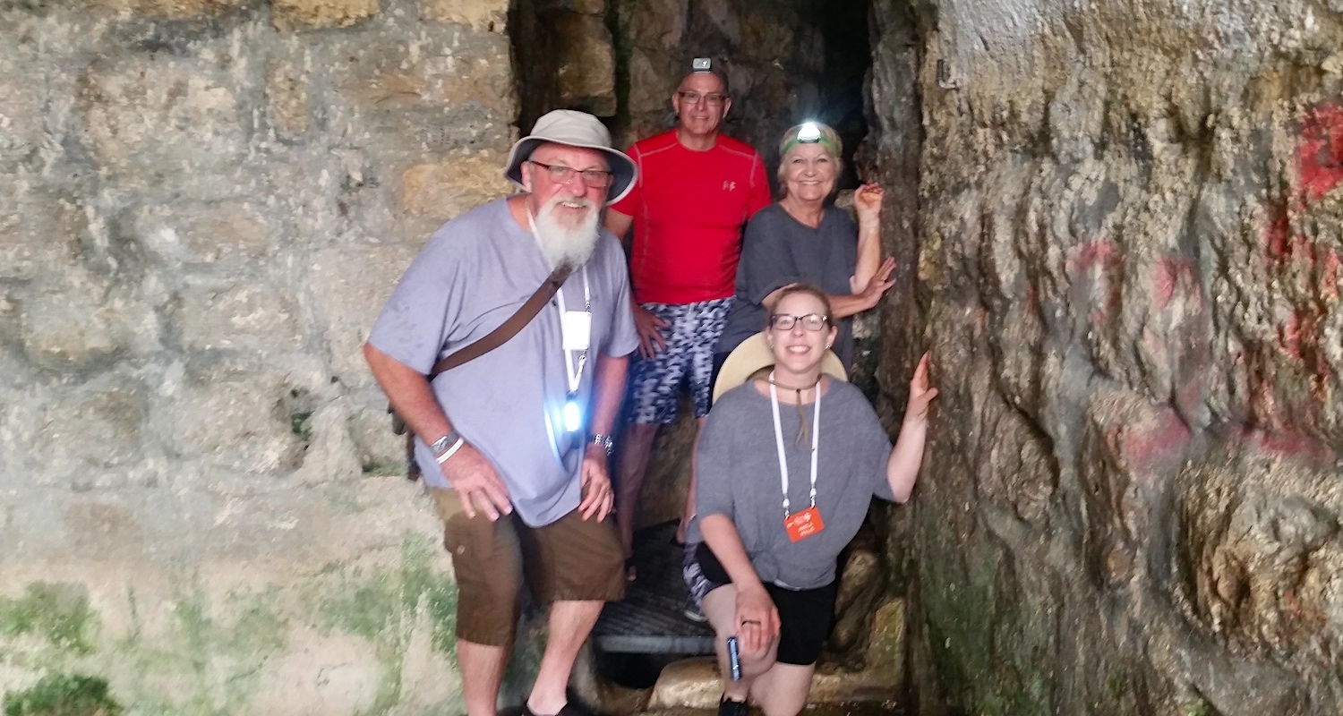 These sturdy souls took up the challenge of wading through the dark tunnel known as Hezekiah's Tunnel. This conduit provided water for the inhabitants of Jerusalem in the Iron Age.