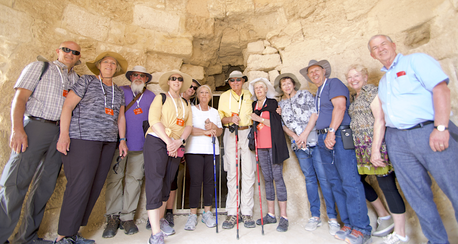 The bathhouse at the palace of King Herod at the Herodium is a perfect place for a group photo.