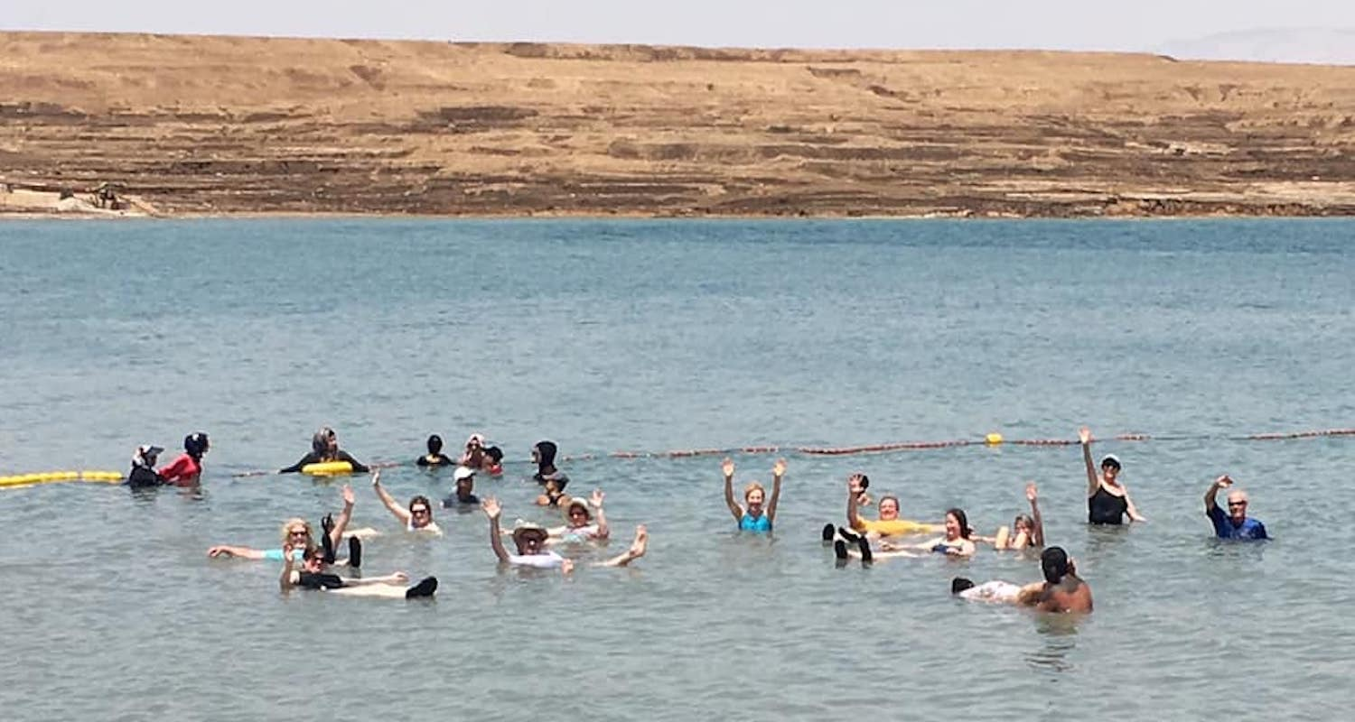 Swimming—or bobbing—in the Dead Sea. Photo by Tommy Baker.