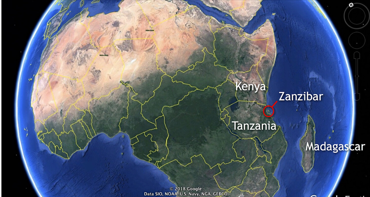 Tanzania and Kenya are part of a constellation of East African countries. Zanzibar is an island off the coast of Tanzania. Image courtesy of Google Earth.