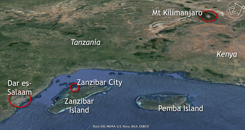The Swahili Coast includes the islands of Zanzibar and Pemba. Image courtesy of Google Earth.