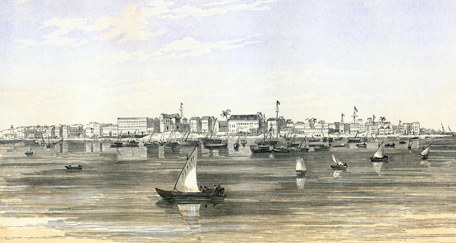 Zanzibar City from the Sea. Illustration from Burton's  The Lake Regions of Central Africa. A Picture of Exploration  (1860). You can find the ebook    here    (accessed 9/15/2019).