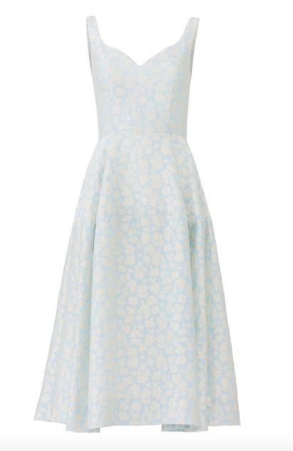 Jill Jill Stuart Blue Bonnie Floral Jacquard Midi Dress  $438.00 or find it on  Rent the Runway