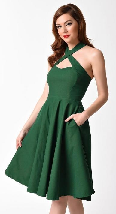Unique Vintage 1950s Emerald Green Cross Halter Rita Flare Dress  $78.00