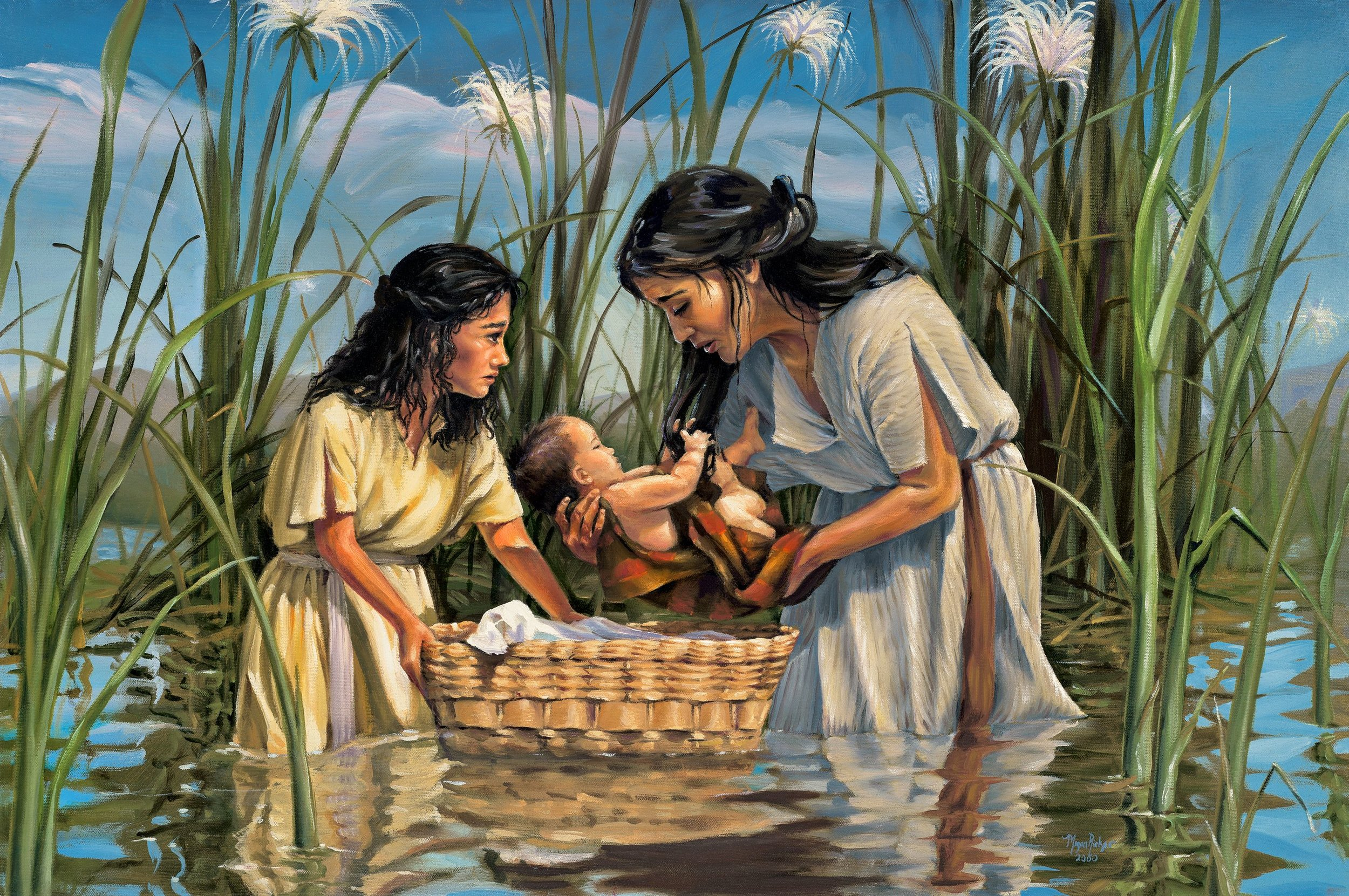Moses' mother, miriam, placing him in a basket in the river nile to protect him from pharoah.