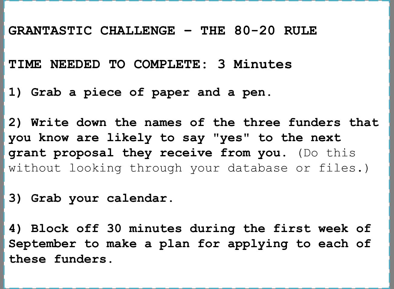 Grantastic Challenge - 80-20 Rule