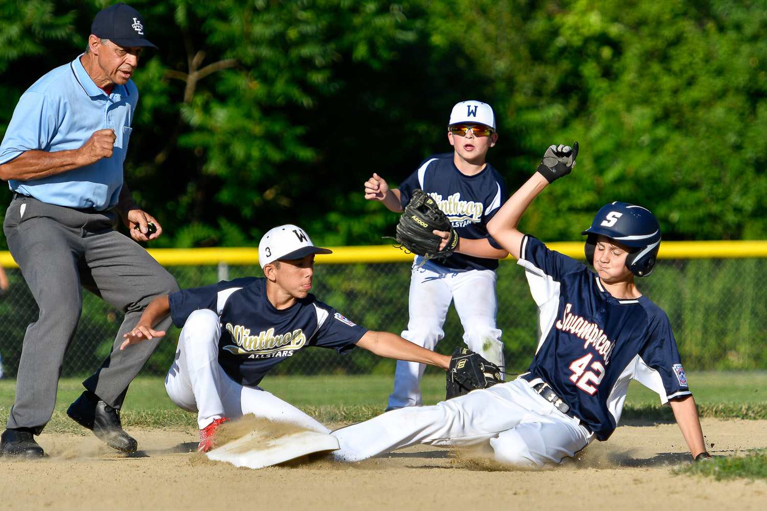 Nikon D500, 1/2500 @ f/4.5, ISO 200, 70-200mm with 1.4x teleconverter  Jansen Landen of the Swampscott Little League all-stars safely slides into second base during their game against Winthrop at Lt. Ross Park in Peabody, Wednesday, July 5, 2017. [Wicked Local Staff Photo / David Sokol]