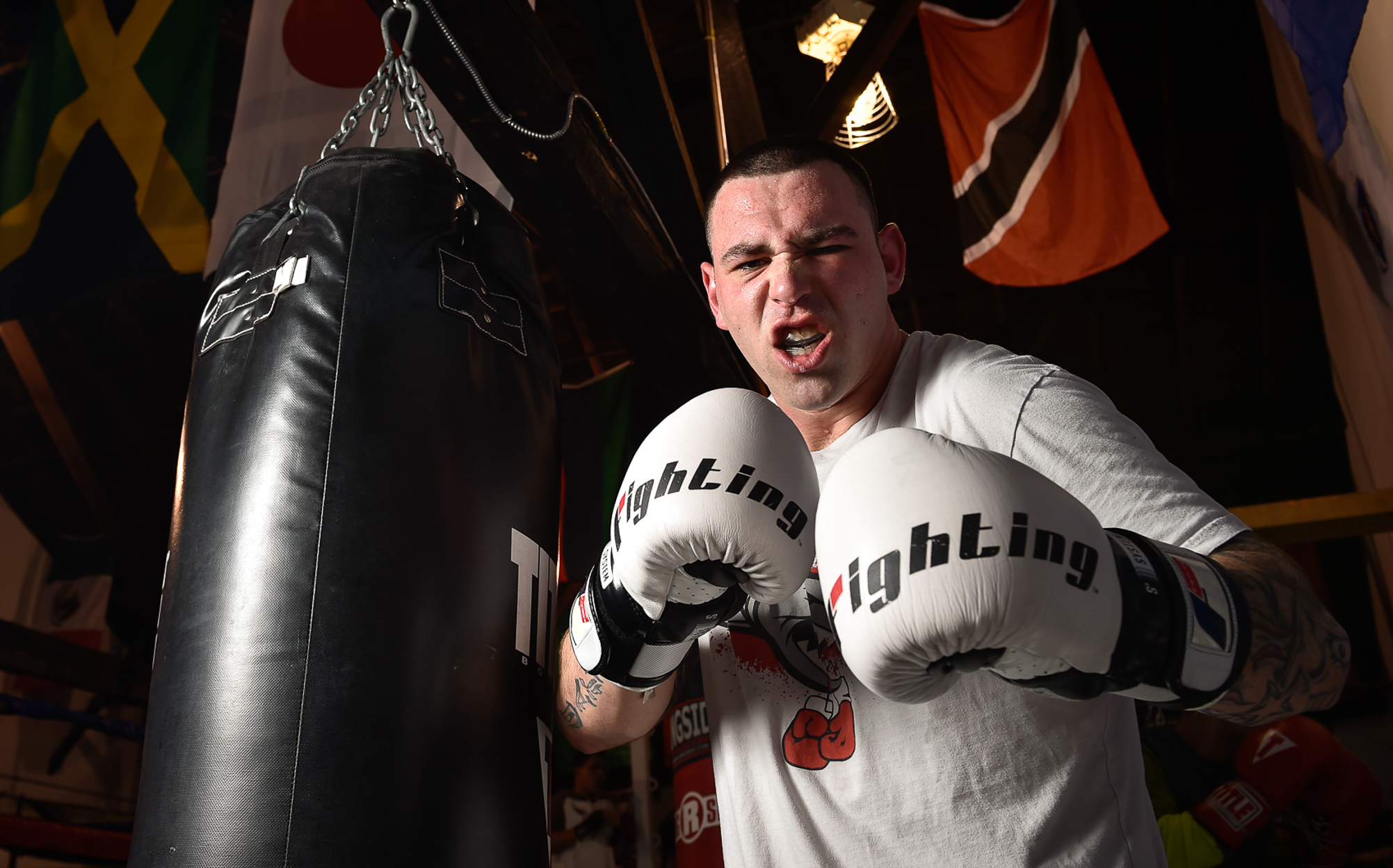 """2nd Place, Portrait Photo  Zach """"The Shark Attack"""" Calmus inside Private Jewels Fitness in Lynn where he is training for his fight in the Golden Gloves tournament in Lowell, Tuesday, Jan. 31, 2017."""