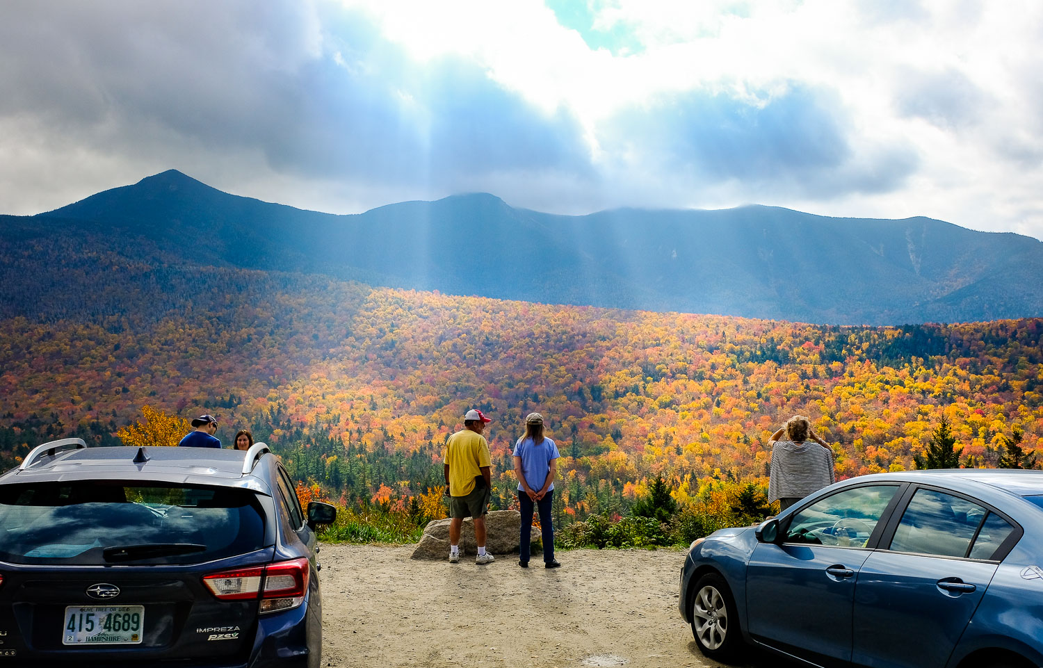 People view the Presidential Range at one of the scenic overlooks along the Kancamagus Highway.