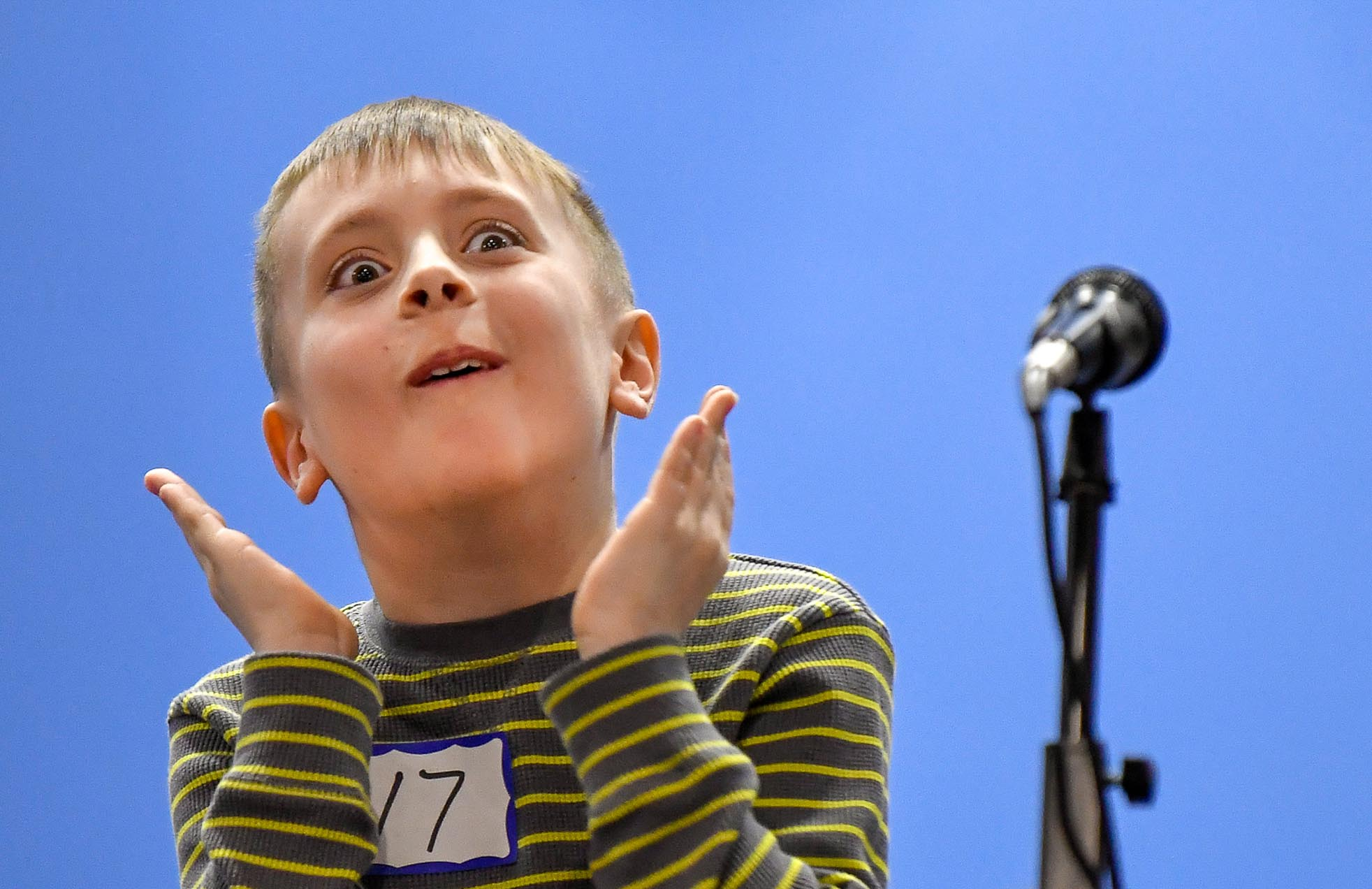 Third Place Personality:  Fourth grade student Hayden Mayhugh gets excited as he moves closer towards the final round and eventually became the first place winner in the fourth grade division of the annual Penn Brook Spelling Bee on Wednesday, March 21, 2018. [Wicked Local Staff Photo / David Sokol]