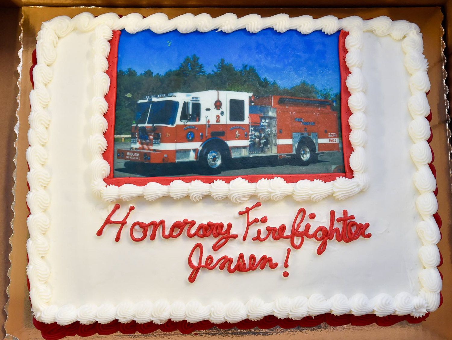 7 of 9 Bobby Jensen, a resident at the Twin Oaks Center in Danvers, was named an honorary firefighter for the Middleton Fire Department, Thursday, Sept. 14, 2017. [Wicked Local Photo / David Sokol]
