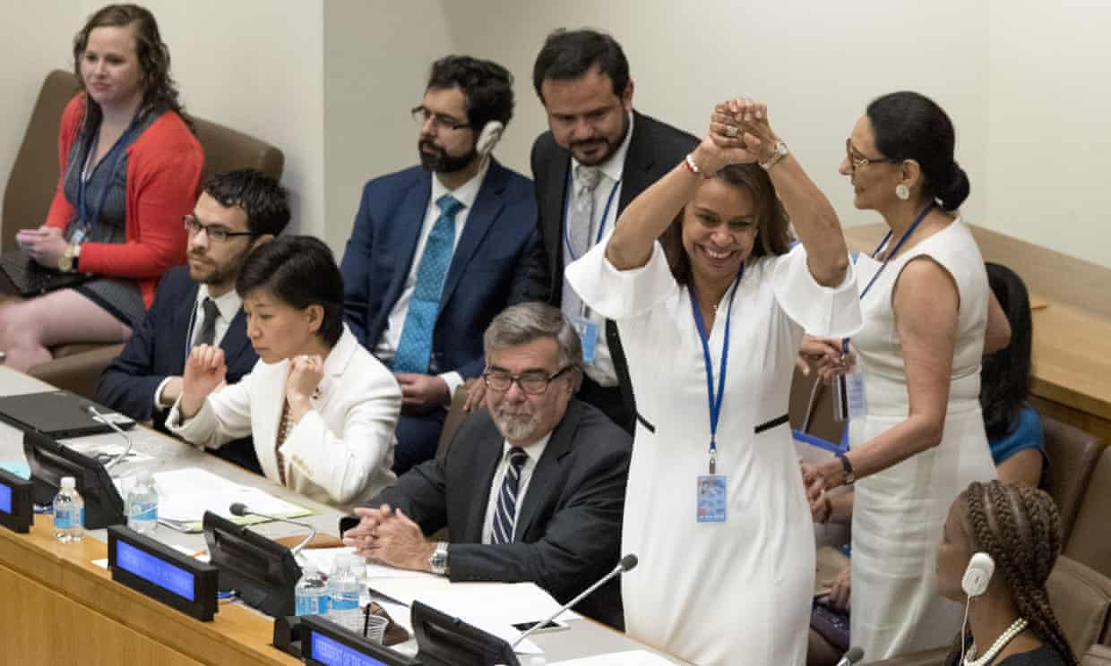 Photograph: Mary Altaffer/AP  Source:  Treaty banning nuclear weapons approved at UN