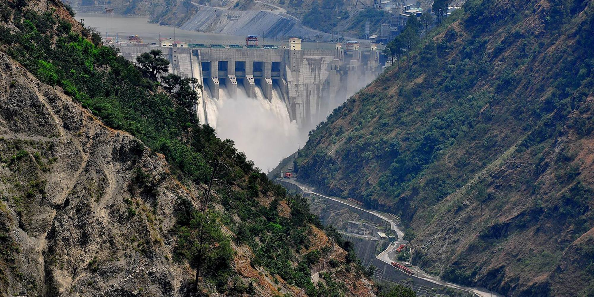 """""""The Baglihar Hydroelectric Power Project spans the Chenab River in Jammu and Kashmir, India. Under the Indus Water Treaty, the waters of the Chenab are allocated to Pakistan.""""  (Source)   Credit: ICIMOD Kathmandu"""