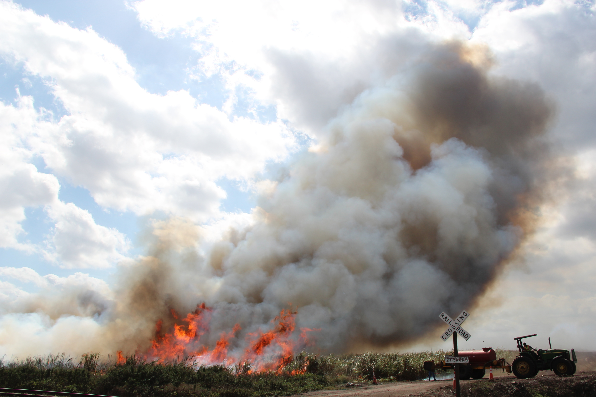 Controlled burn of sugar cane fields