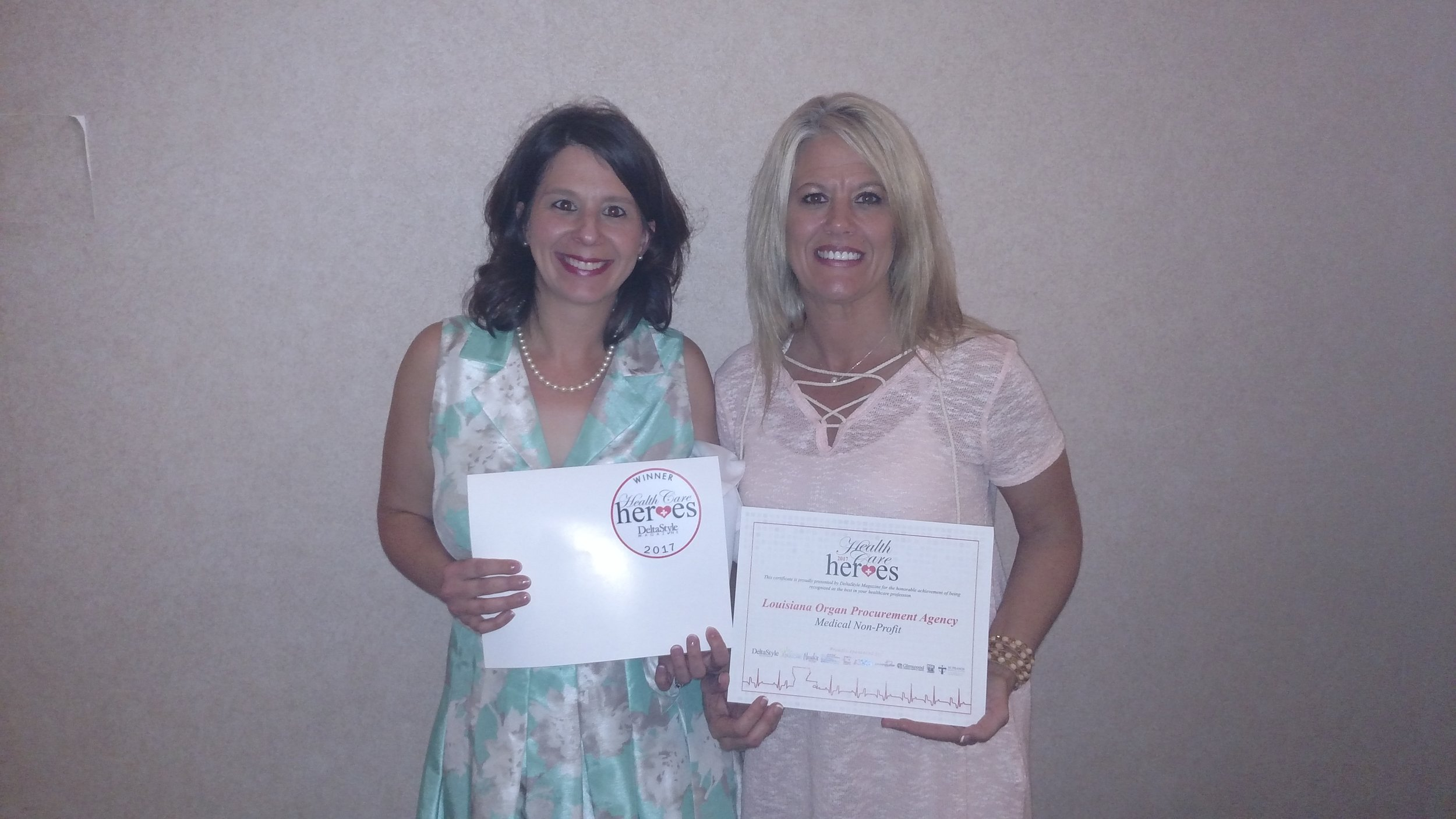 LOPA Community Educator, Leah Lopez and LOPA Donation Services Coordinator, Cindy Baugh accepted the award for LOPA on 6/20.