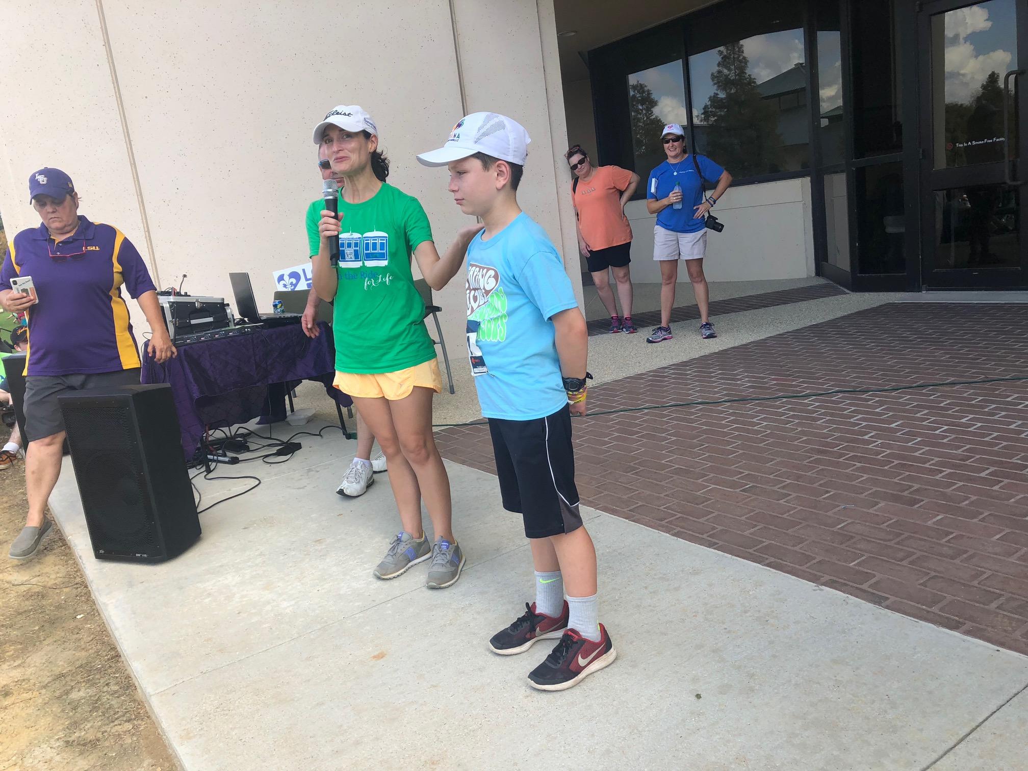 Smith and his mom at the Rabalais Run for Life.