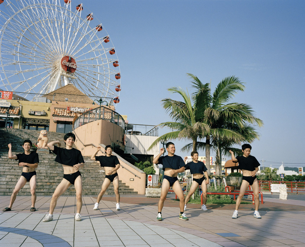 JAPAN. Okinawa. 2006. American Village. Dancers for a video - 16x12inches £600 - Edition of 6 + 2AP's - 20x24inches £1000 - Edition of 4 + 2AP's