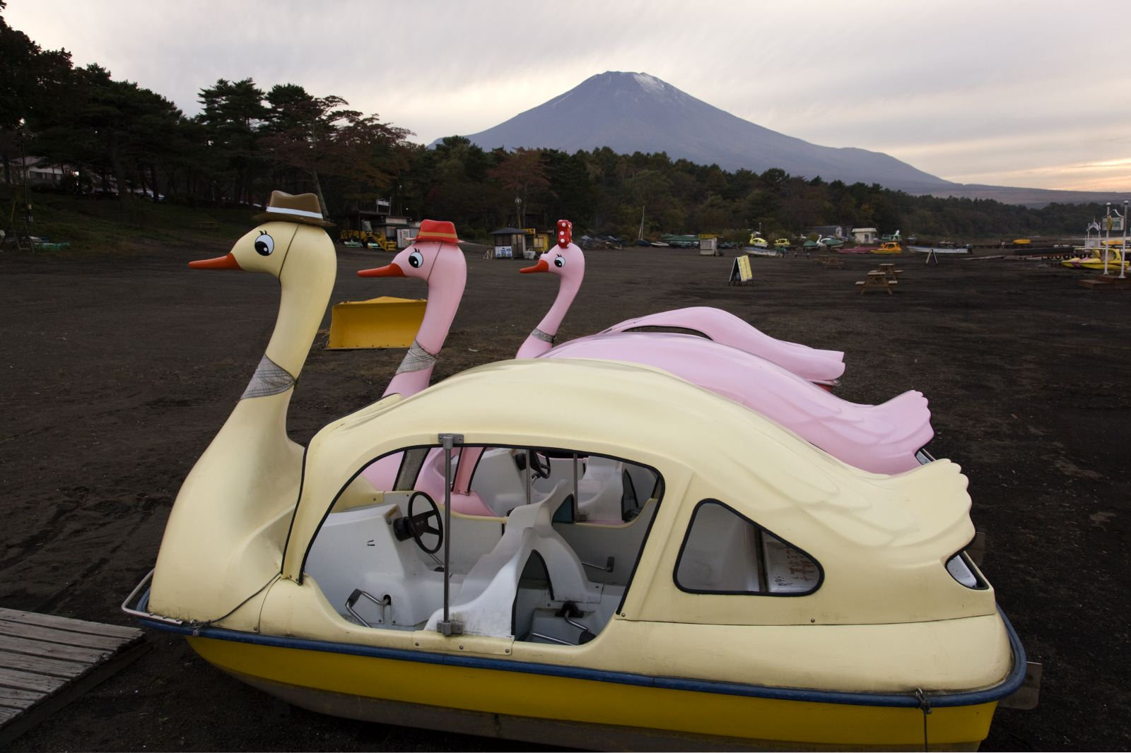 JAPAN. LAKE YAMANAKAKO. October 2009. Swan pleasure boats with view of Mount Fuji - 16x12inches £600 - Edition of 6 + 2AP's - 20x24inches £1000 - Edition of 4 + 2AP's
