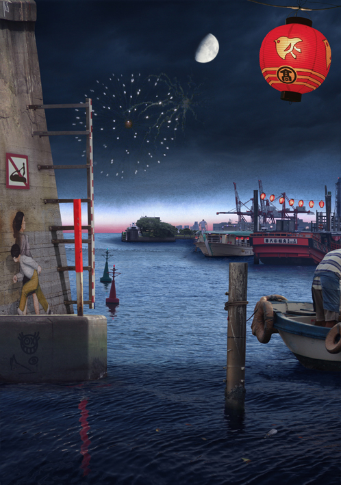 Tokyo Story 3 Night Harbour (after Hiroshige)