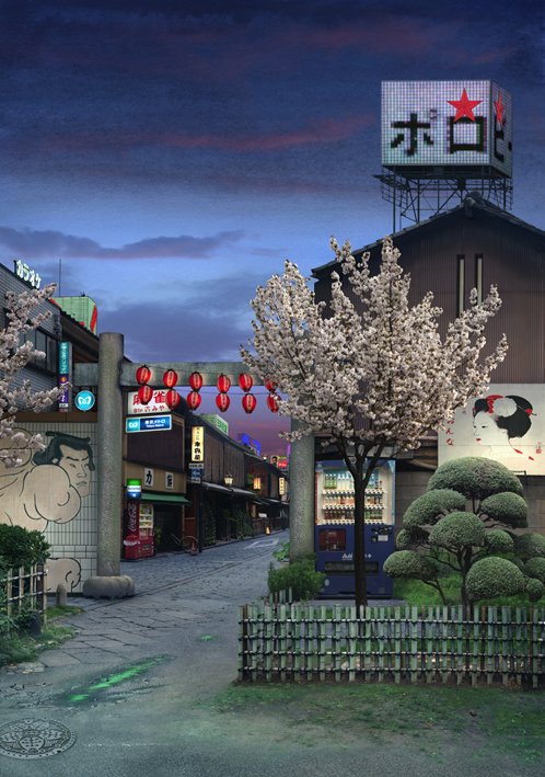 Tokyo Story 7 Nightfall (after Hiroshige)
