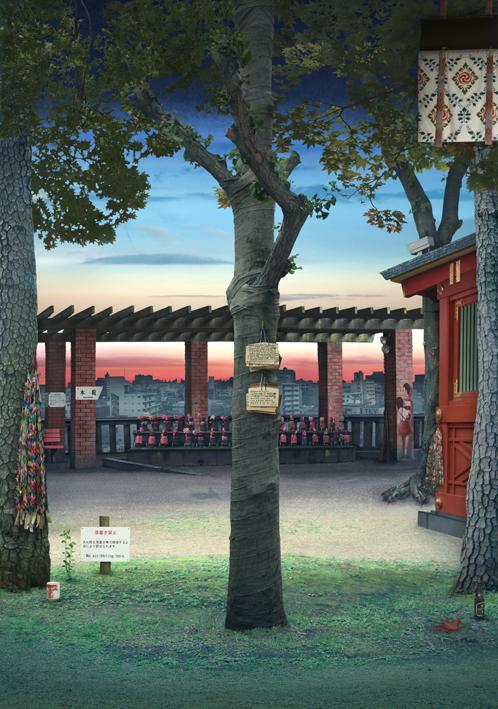 Tokyo Story 6 Shrine (after Hiroshige)
