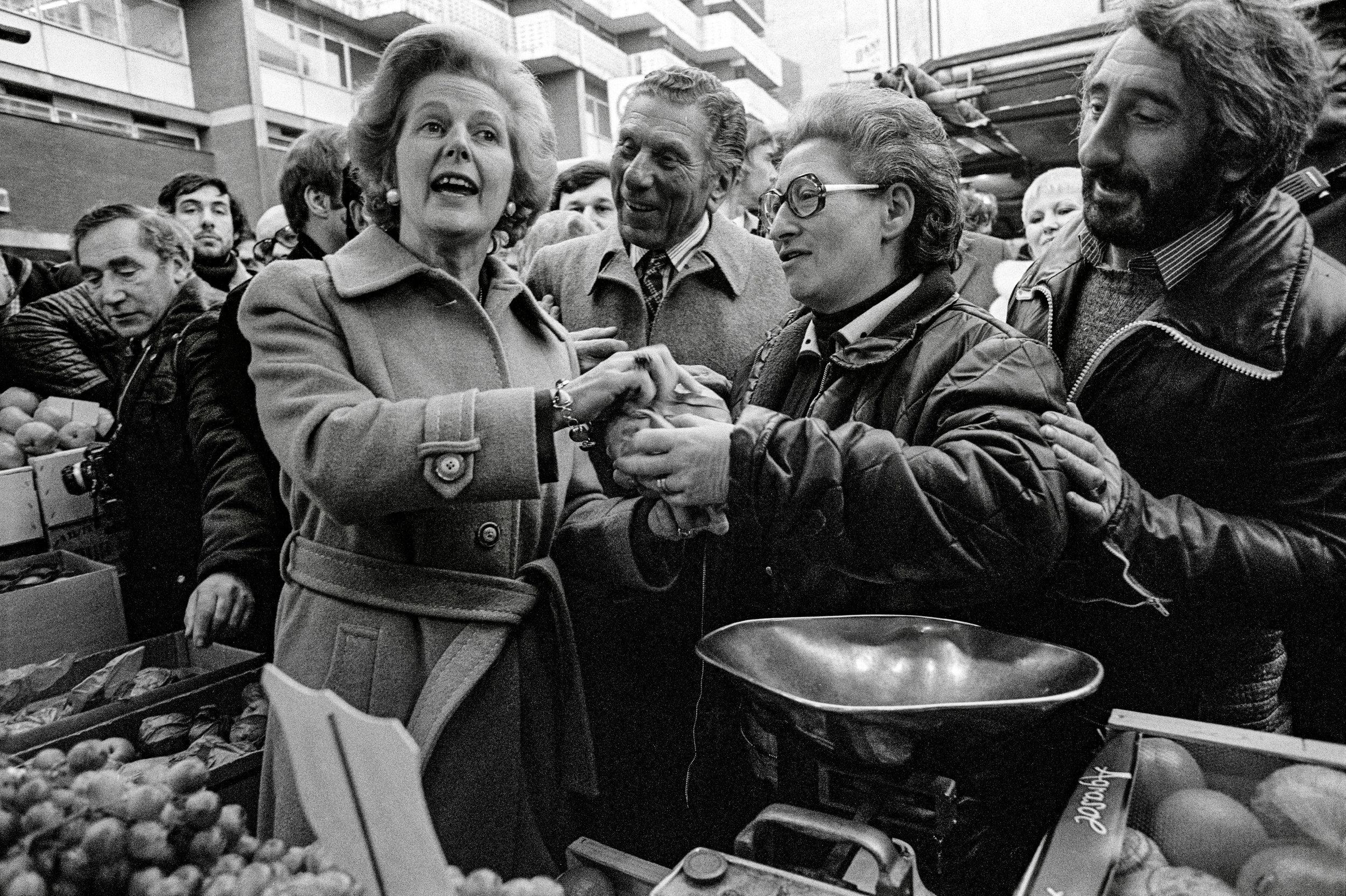 Prime Minister Margaret Thatcher visits Brixton Market, 1978