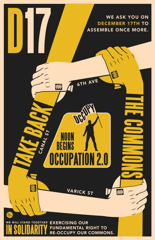 Poster from the failed D17 re-occupation attempt in NYC.