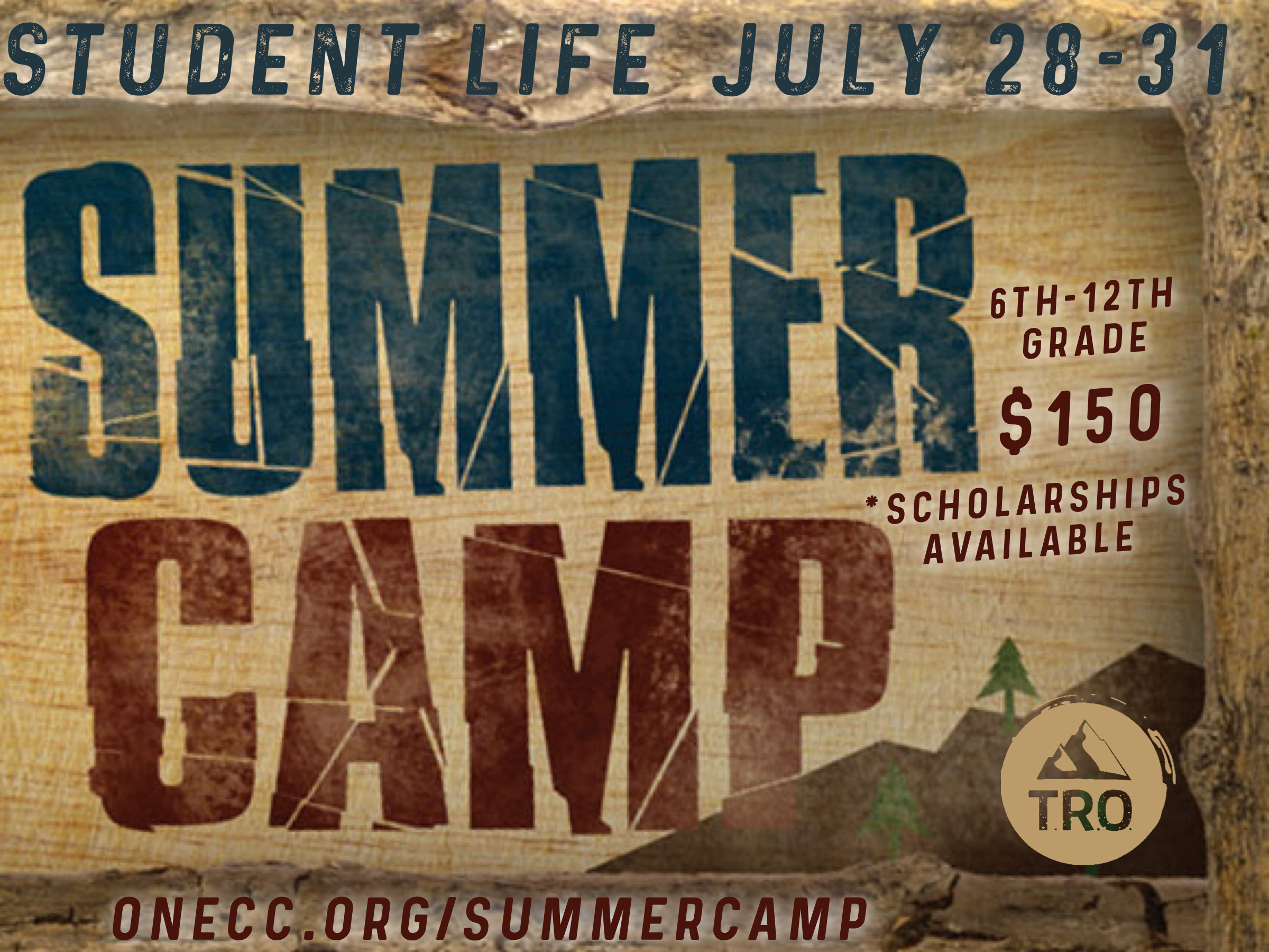 Join us for an amazing camp experience at Thomas Road Outpost! There will be awesome recreation, amazing worship and challenging talks to grow you in your walk with the Lord! Recreation options include: zip lining, atv trail riding, archery tag, paintball, gaga, basketball, lake activities, fishing and more. It will be an awesome four days to disconnect from your normal life, make fun memories with your friends and spend time with the Lord in the great outdoors!    DATE: July 28-31    GRADES: 6TH - 12TH Grade    LOCATION: Thomas Road Outpost    COST: $150 *scholarships available if needed    DROP OFF: Sunday, July 28 at One Community Church at 5:00pm    PICK UP: Wednesday, July 31 at One Community Church at Noon