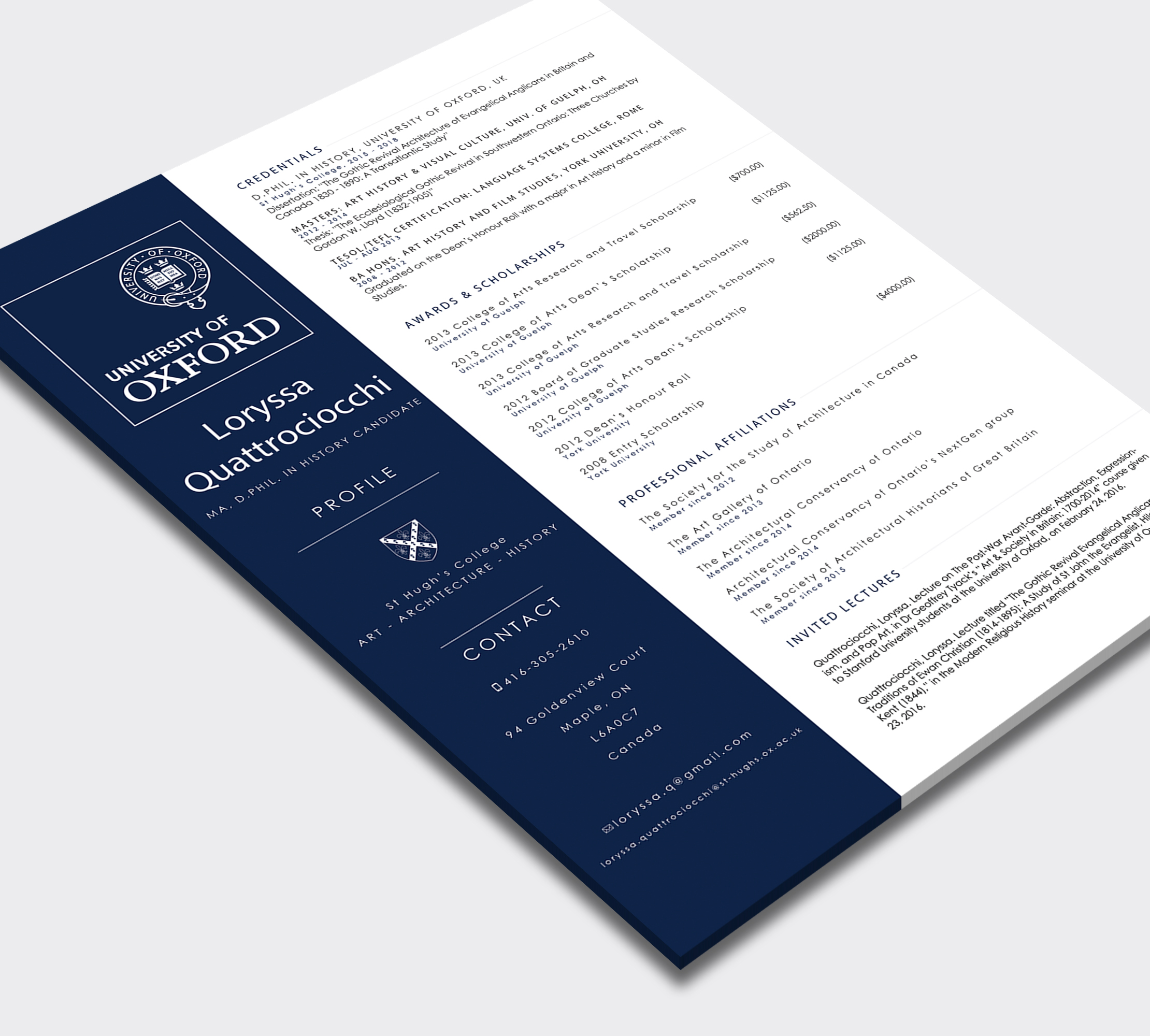 University of Oxford  Branding and resume design    Year   2015