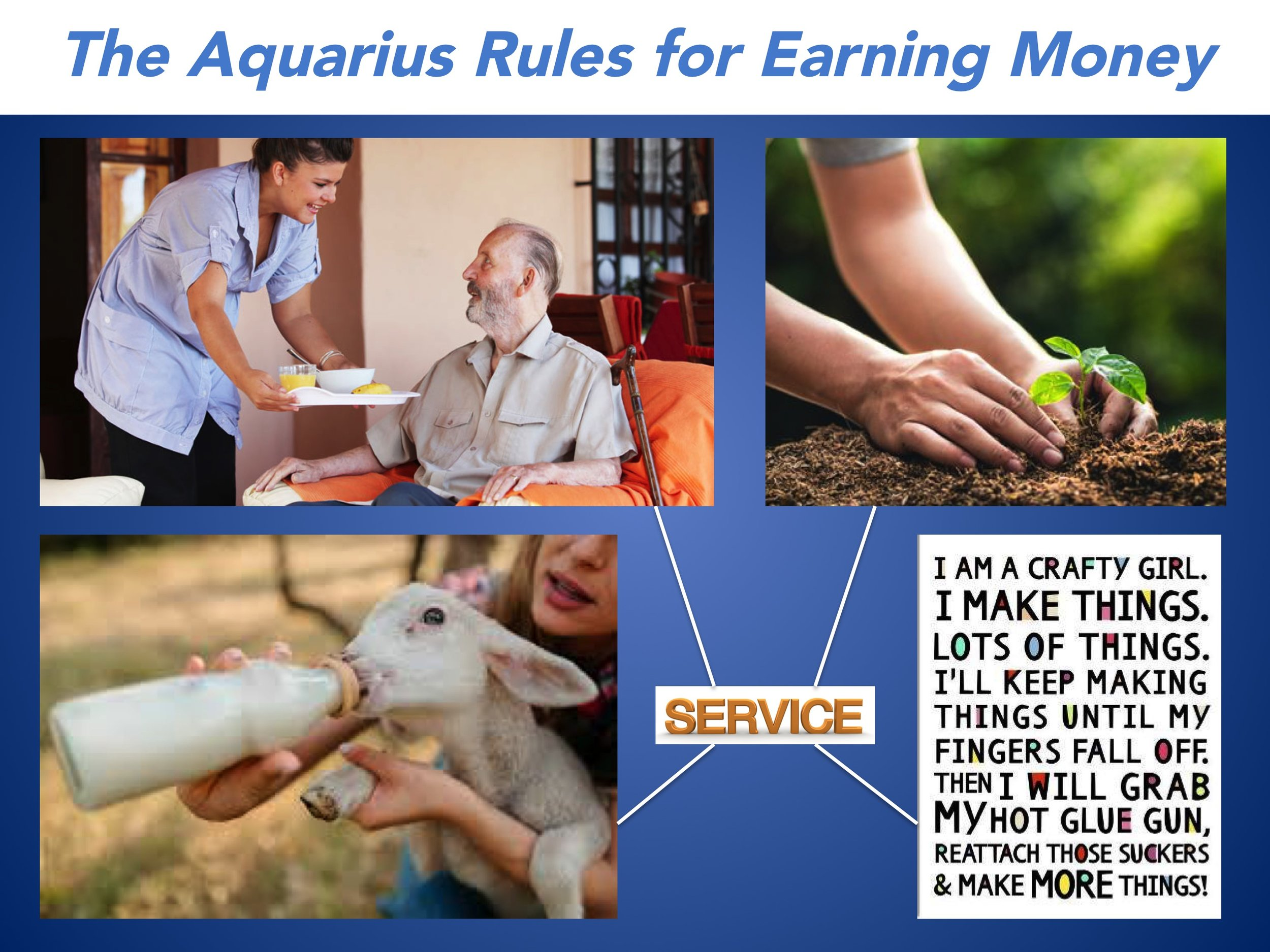 Aquarius promotes a service based economy in which humans serve others to earn money in the form of an ecological footprint allowance. To ensure that everyone is entitled to be treated equally, the reserve for the Aquarius money game will be funded by individual contributions of exactly $101 each.