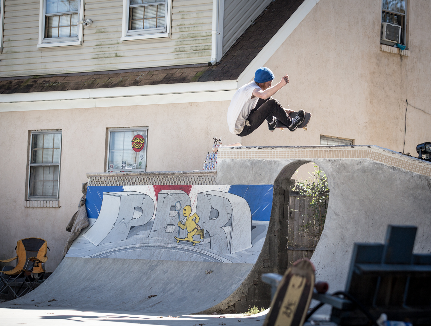 And we got to skate it to ourselves for a little while.  Ben Bradford frontside air.