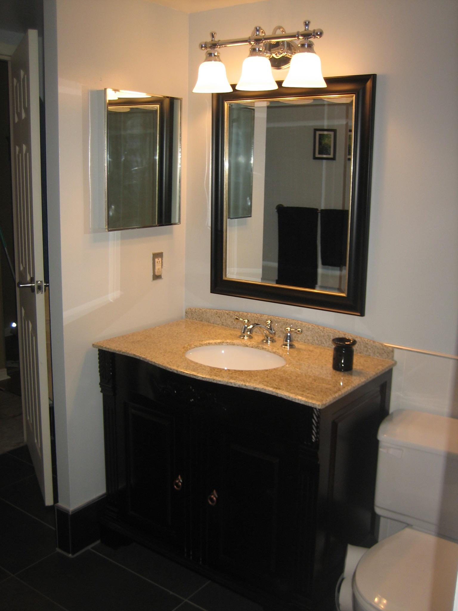 Condo Reno Washroom - Marble Mohogany Vanity 2007.JPG