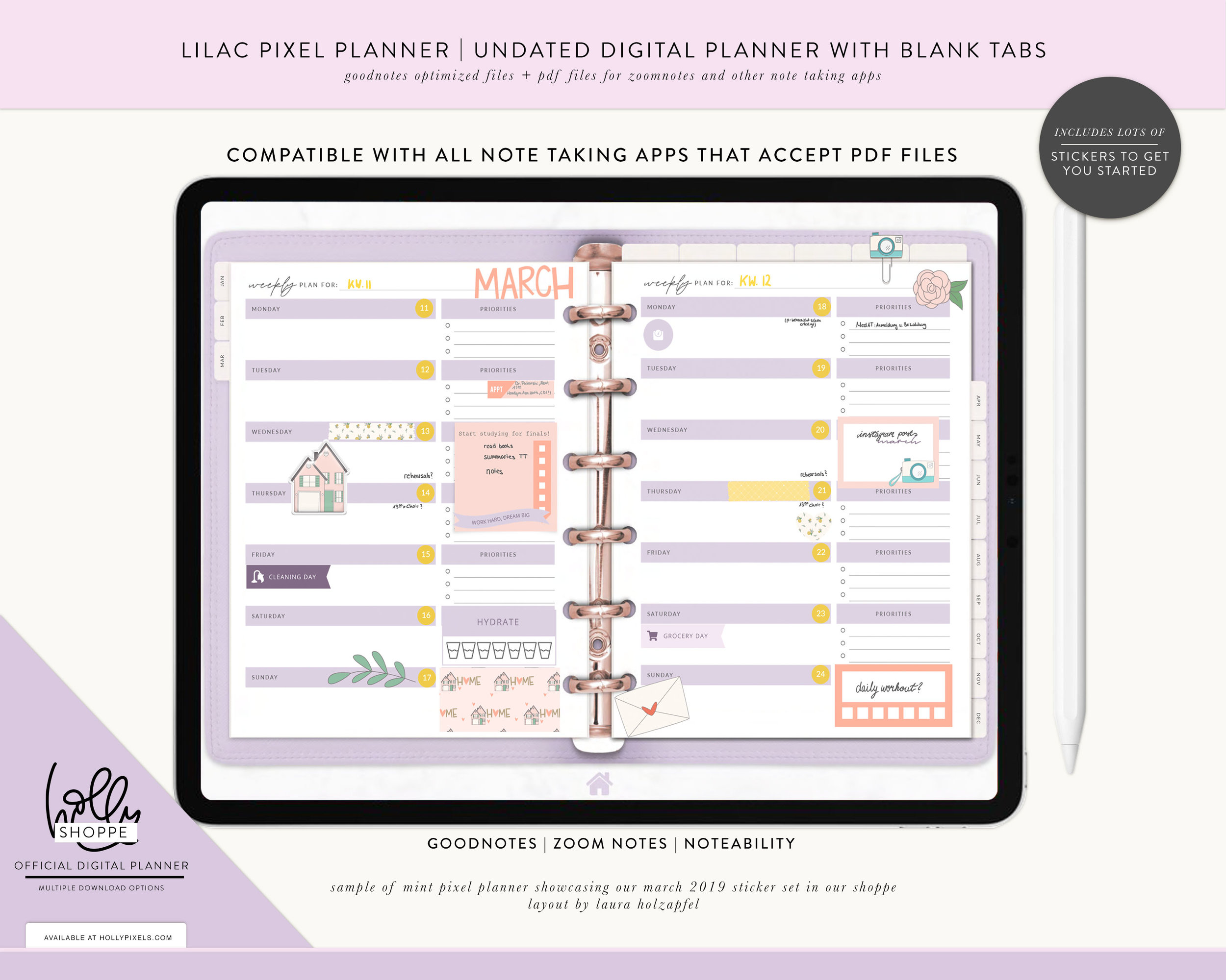 Meet the Digital Pixel Planner 2.0 in Lilac. Image Courtesy of    Holly Pixels